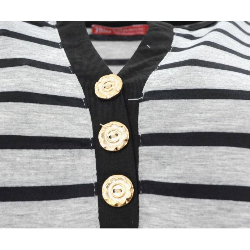 Bluzka w paski (szary+czarny)