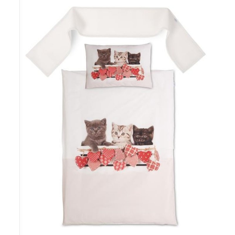 Pościel do Łóżeczka z Ochraniaczem 100x135 Happy pościel dziecięca 100x135 Komplet pościeli dziecięcej pościel w kotki