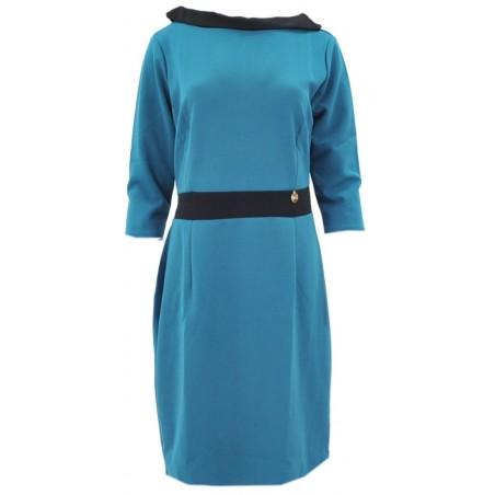 Sukienka z kontrastowym kołnierzem (turkus)