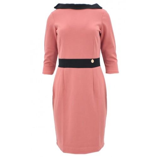 Sukienka z kontrastowym kołnierzem (różowa)