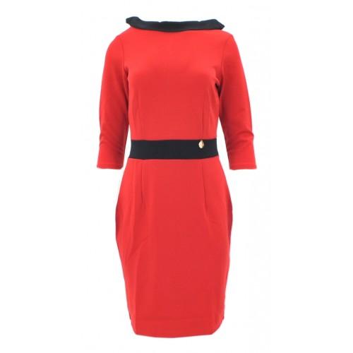 Sukienka z kontrastowym kołnierzem (czerwona)