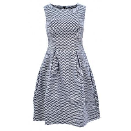 Sukienka rozkloszowana z błyszczącą nitką (granat)