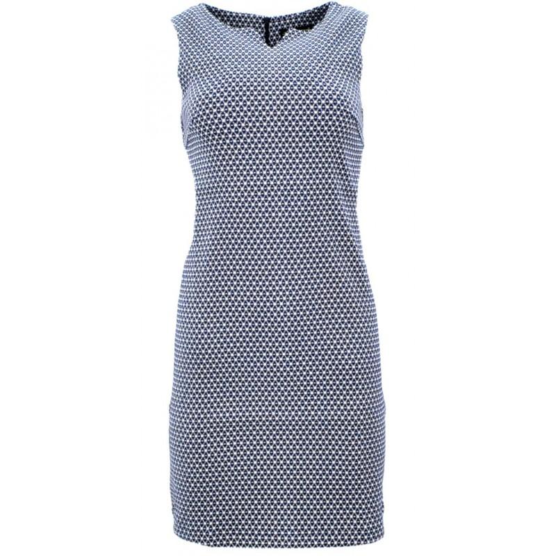 Sukienka trapezowa z błyszczącą nitką (granat)