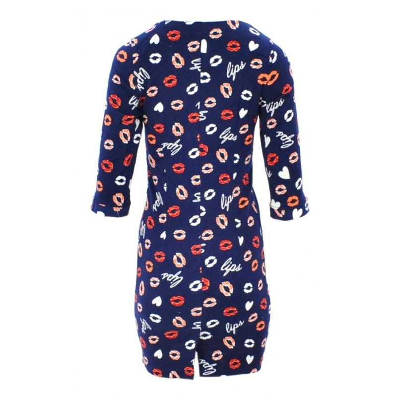 Sukienka z długim zamkiem LIPS (granatowa)