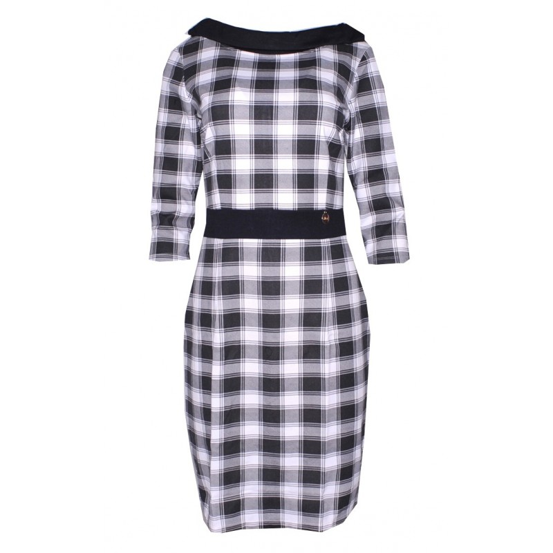 Sukienka w kratkę z kołnierzem (czarno-biała)