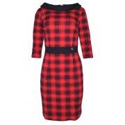 Sukienka w kratkę z kołnierzem (czarno-czerwona)