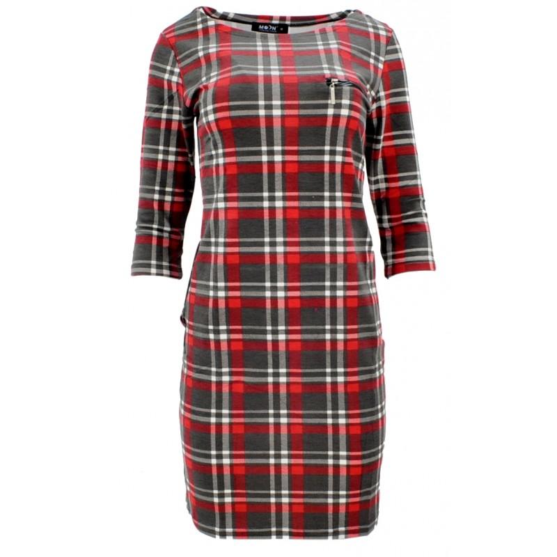 Sukienka z kieszeniami w kratkę (czarno-czerwona)