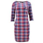 Sukienka z kieszeniami w kratkę (granatowo-czerwona)