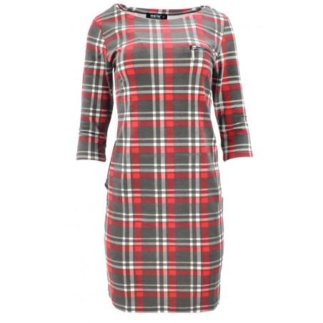 Sukienka z kieszeniami w kratkę (szaro-czerwona)