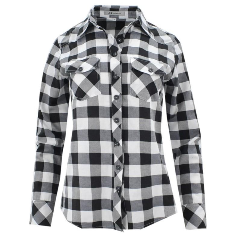 Koszula damska bluzka w kratkę czarno biała  4cbiS