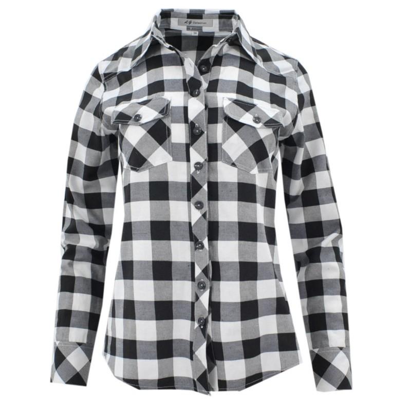 Koszula w kratę 100% bawełna (czarno-biała)