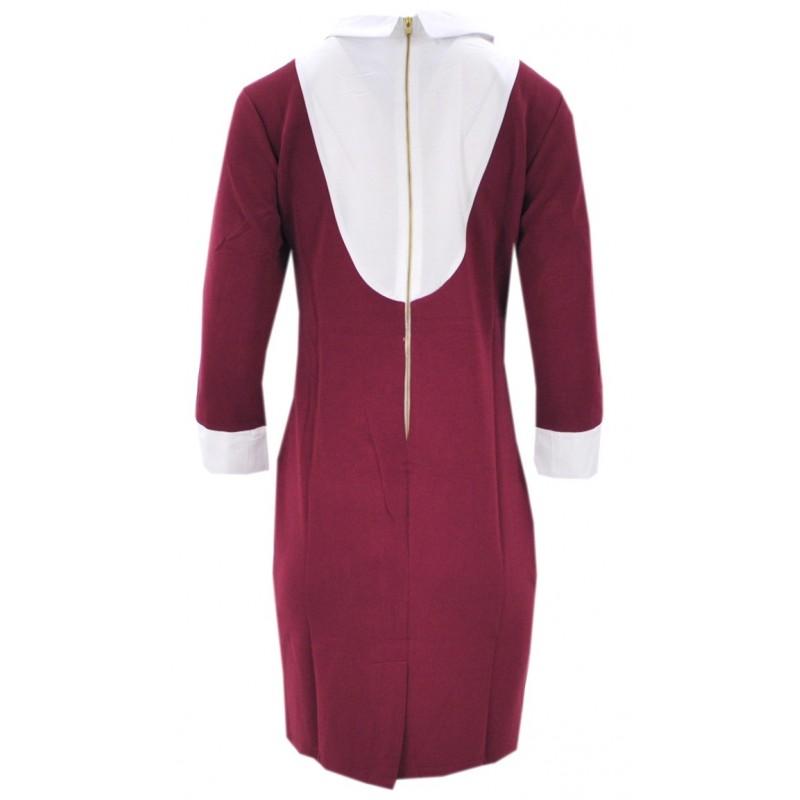 Sukienka pensjonarka (buraczkowa)