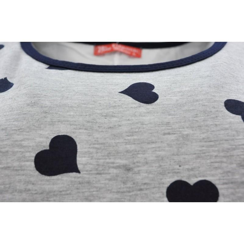 Bluzka w serca z szyfonem (granatowe serca)