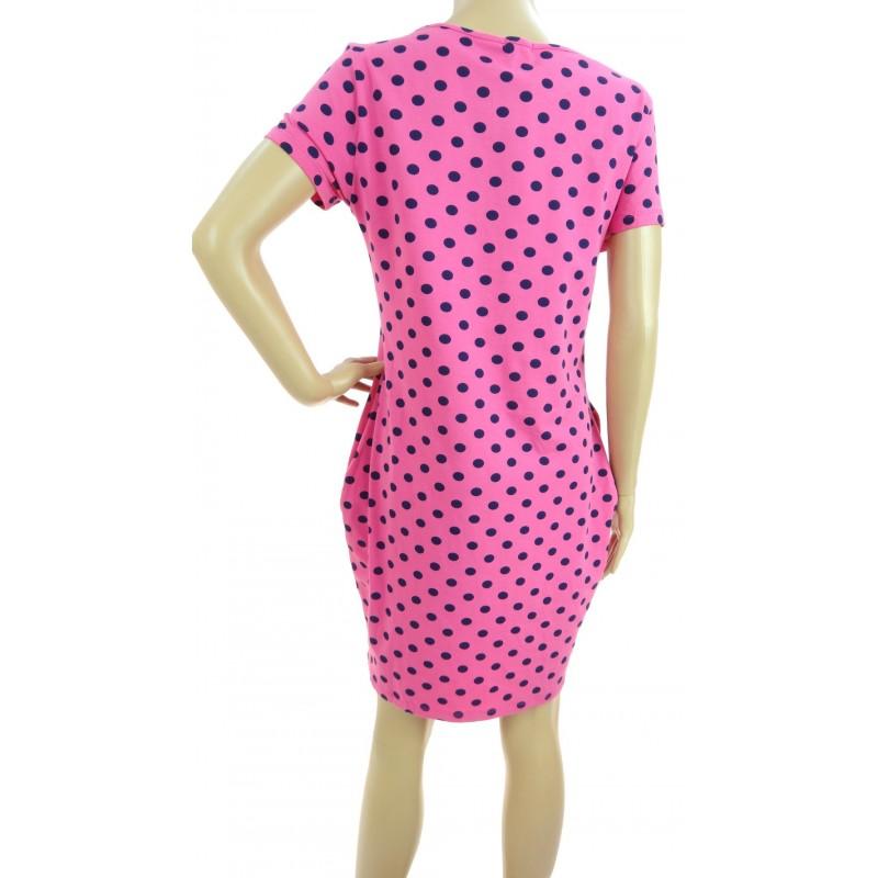Sukienka w grochy z kieszeniami (różowa w granatowe grochy)