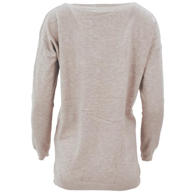 Sweter z cekinowym pieskiem (beżowy)
