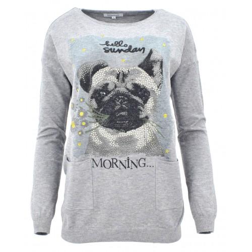 Sweter z cekinowym pieskiem (szary)