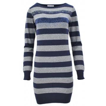 Sweter/sukienka w paski z cekinami (granat)