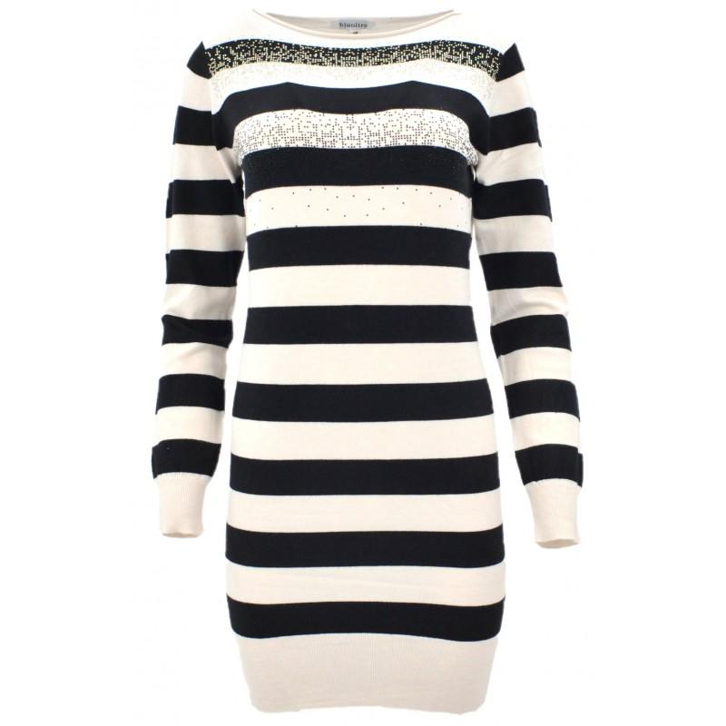 Sweter/sukienka w paski z cekinami (beż)
