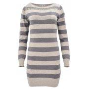 Sweter/sukienka w paski z cekinami (c.beż)