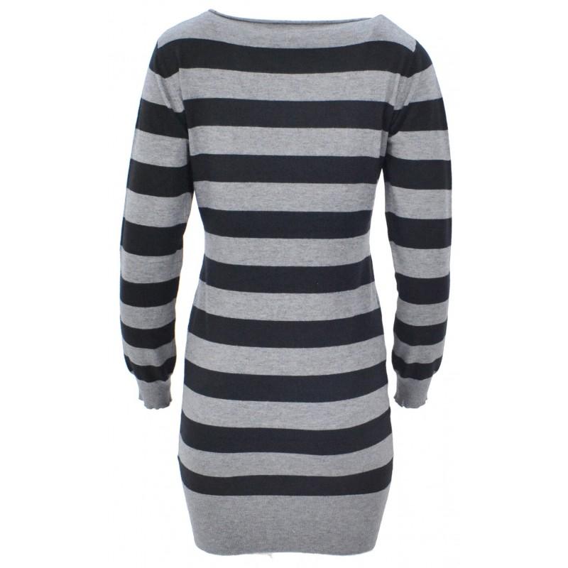 Sweter/sukienka w paski z cekinami (czarny)