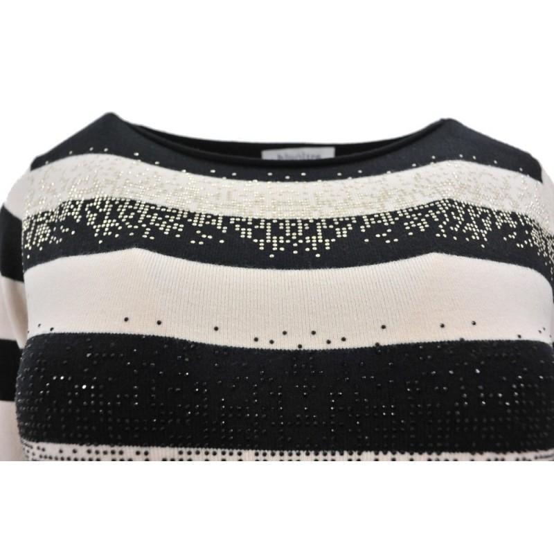 Sweter/sukienka w paski z cekinami (beżowy)