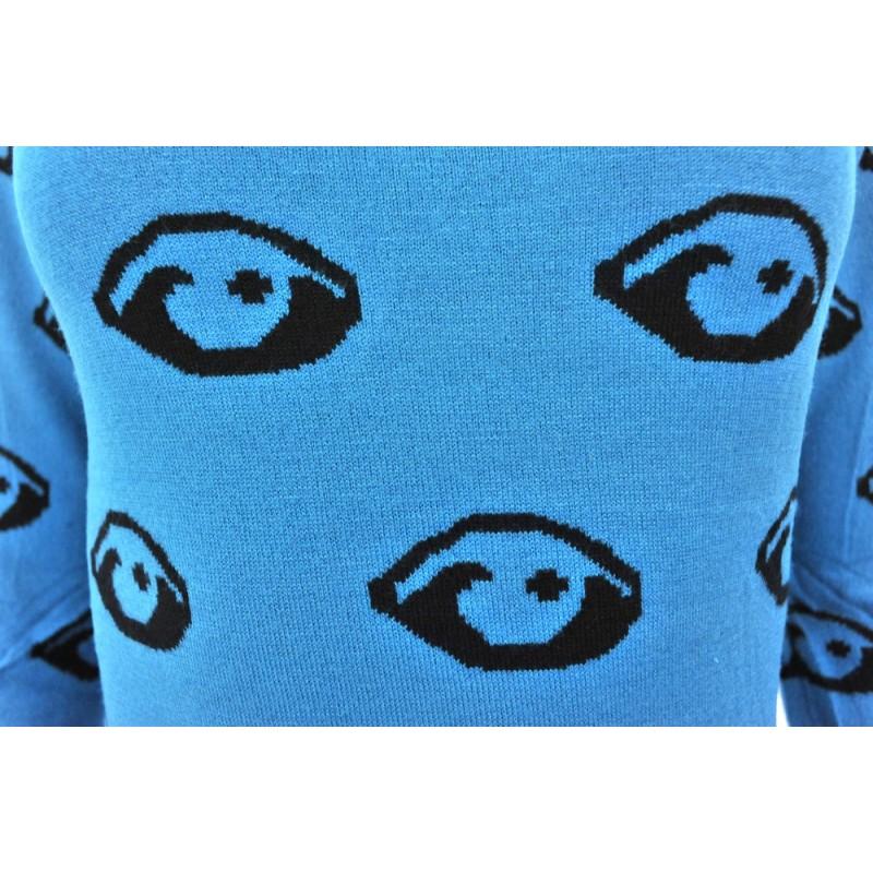Sweter/sukienka w oczy (turkusowy)