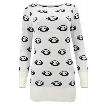Sweter/sukienka w oczy (biały)