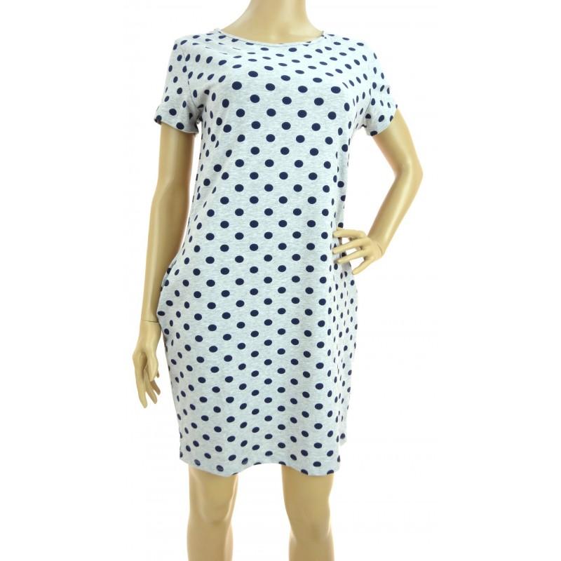 Sukienka w grochy z kieszeniami (szara w granatowe grochy)