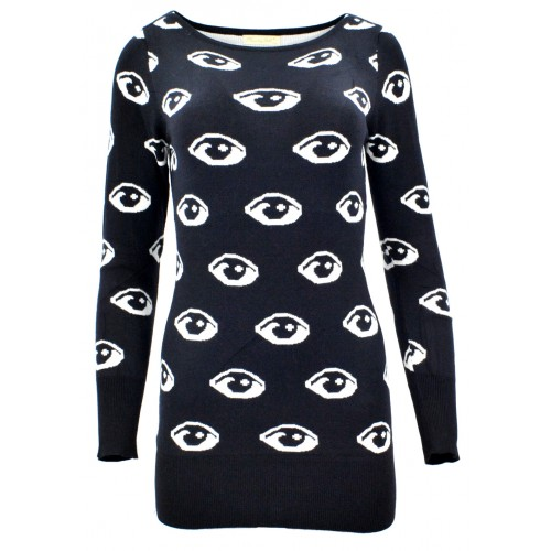 Sweter/sukienka w oczy (czarny)