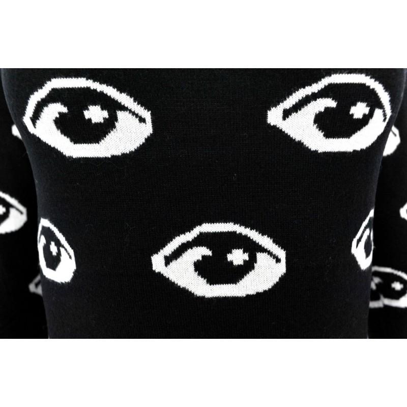 Czarna Sukienka Swetrowa w Oczy Sweterkowa Tunika Długi sweter damski