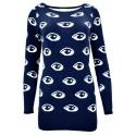 Sweter/sukienka w oczy (granatowy)