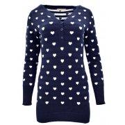 Sweter/sukienka w serca (granatowy)