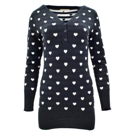 Sweter/sukienka w serca (czarny)