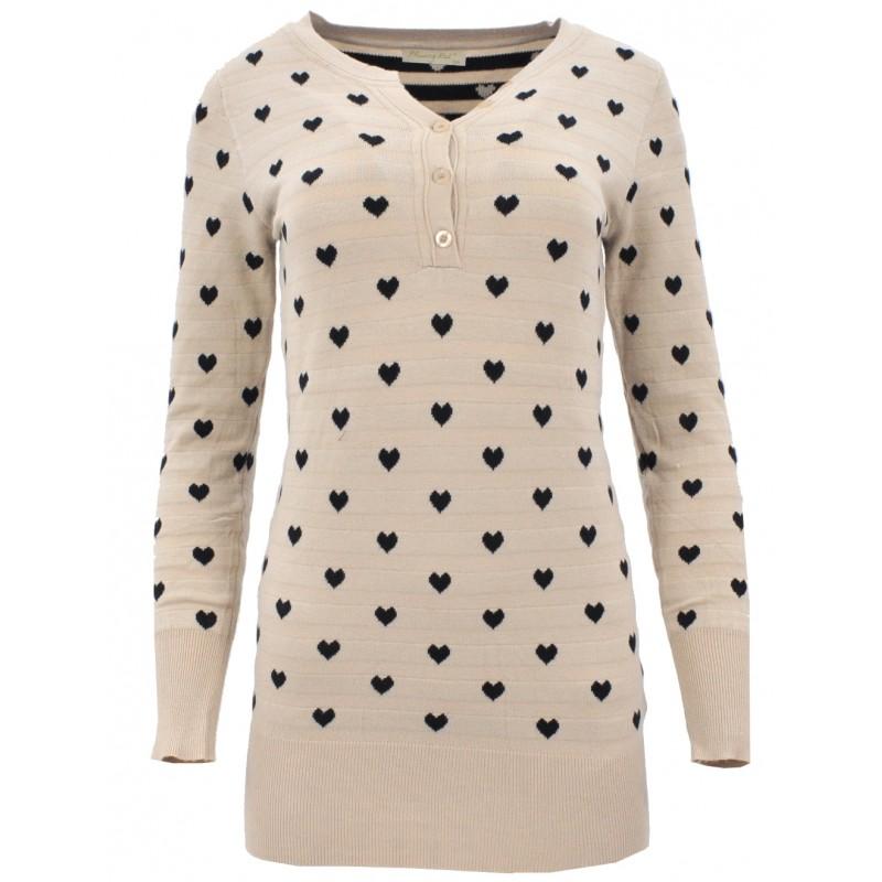 Sweter/sukienka w serca (beżowy)
