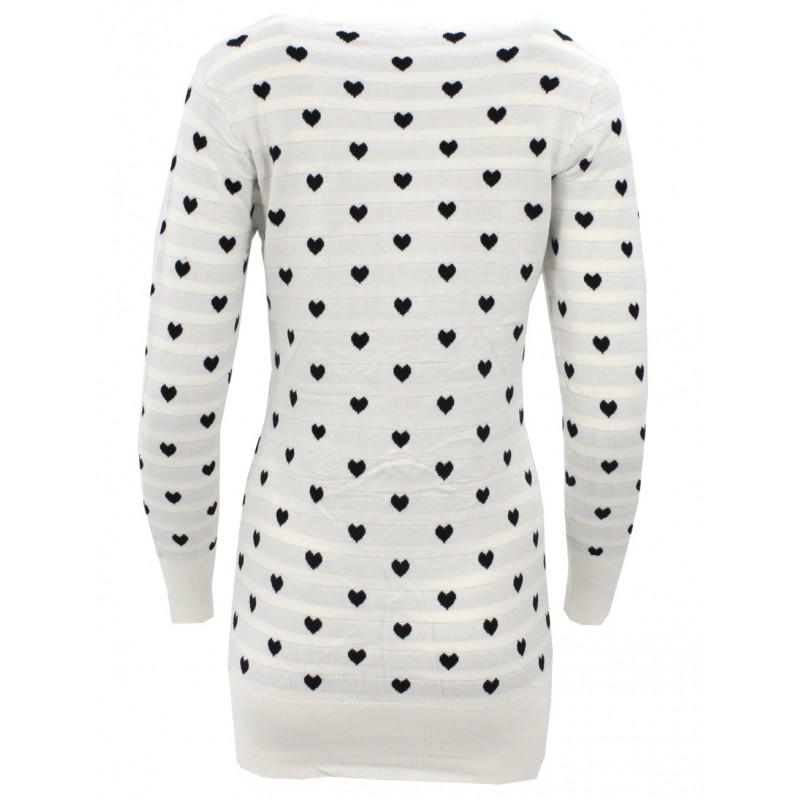 Sweter/sukienka w serca (biały)