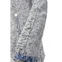 Bluza na zamek z koronką (jasnoszary melanż )