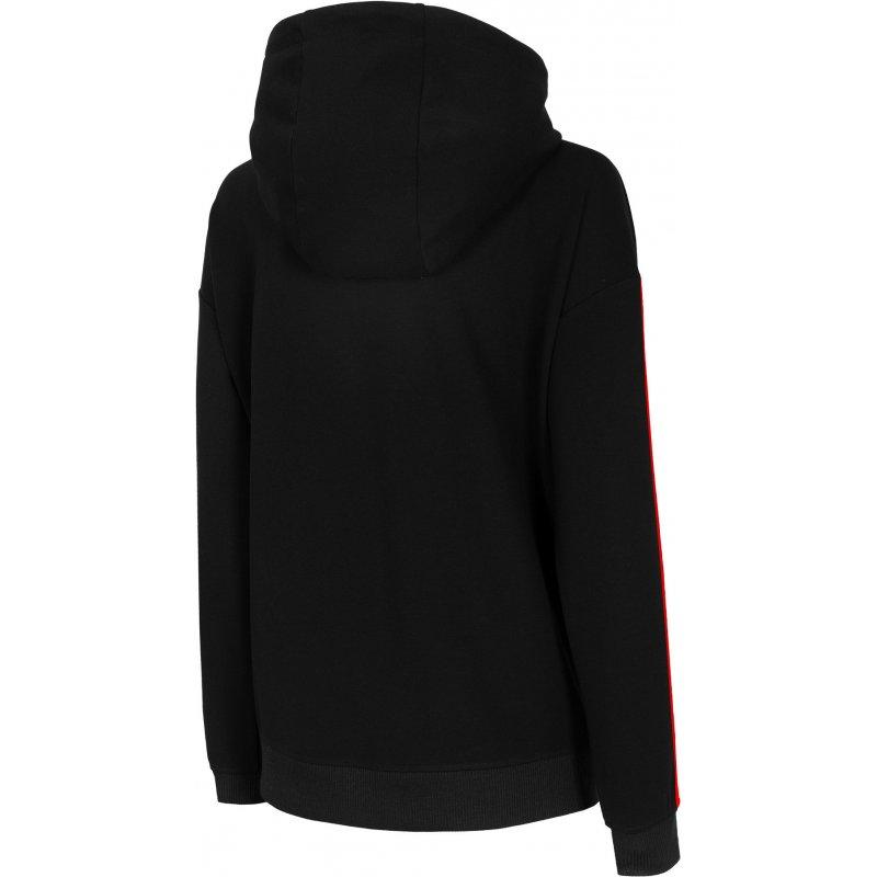 Damska bluza z kapturem 4F BLD017 - czarna bluza damska z kapturem bluza dresowa damska bluza damska dresowa