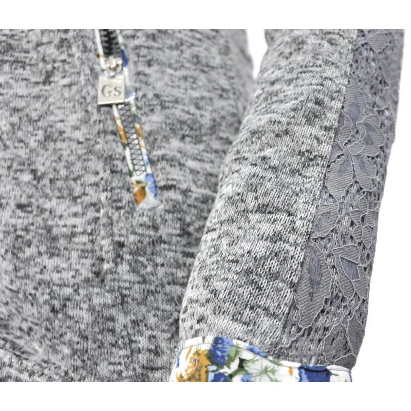 Bluza na zamek z koronką (średnioszary melanż )
