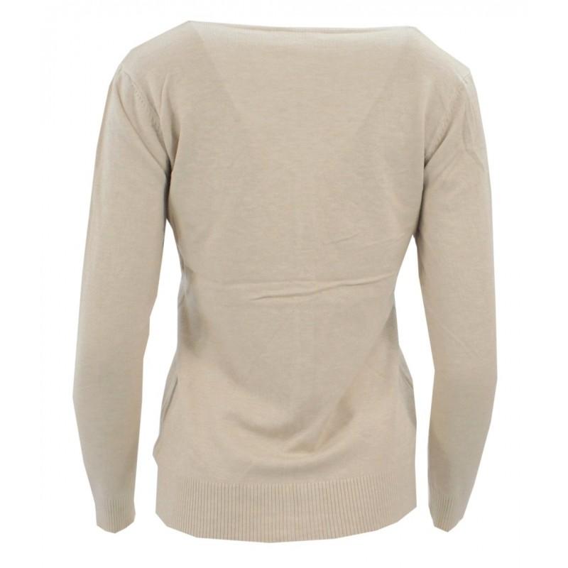 Sweter rozpinany z ozdobnymi kamyczkami (beż)
