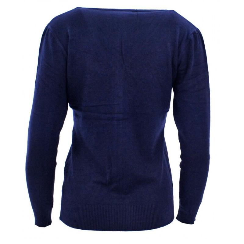 Sweter rozpinany z ozdobnymi kamyczkami (granat)