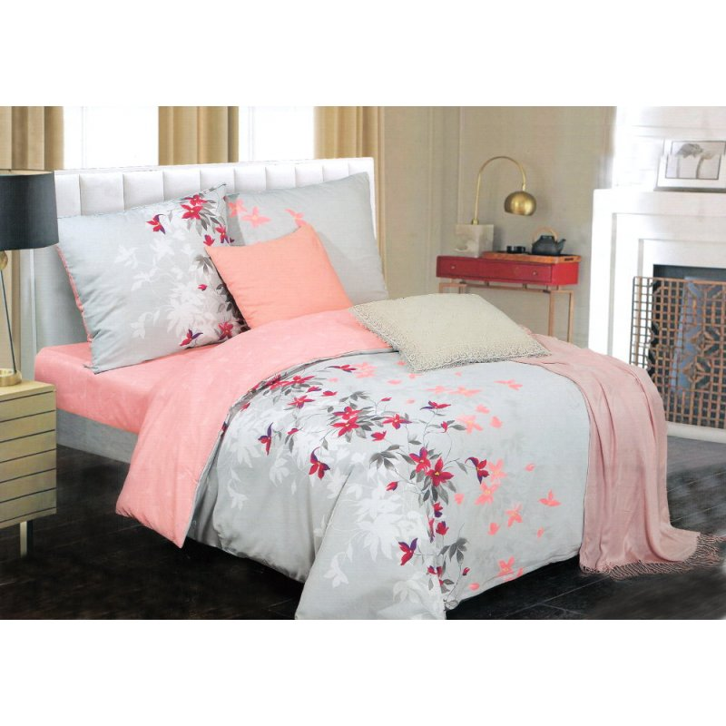 Pościel ELWAY 160x200 Satyna Bawełna 100% 4670 Szaro Różowa Pościel 160x200 w Kwiaty Pościel Bawełniana 160x200