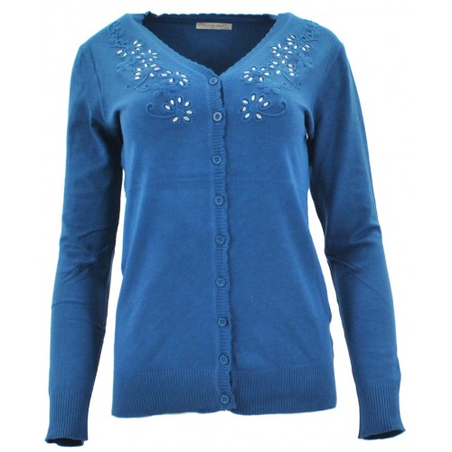 Sweter rozpinany z ozdobnymi kamyczkami (turkus)