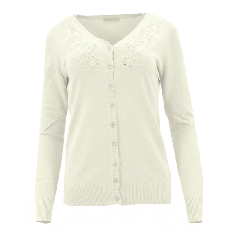 Sweter rozpinany z ozdobnymi kamyczkami (kremowy)