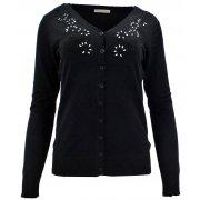 Sweter rozpinany z ozdobnymi kamyczkami (czarny)