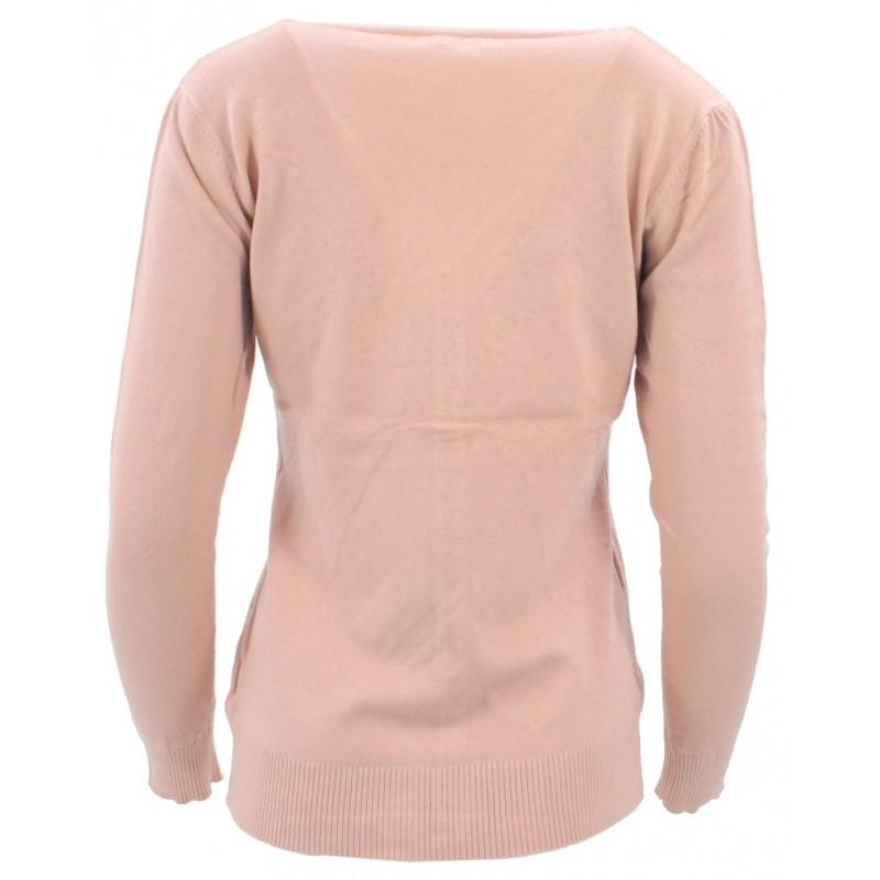 Sweter rozpinany z ozdobnymi kamyczkami (różowy)