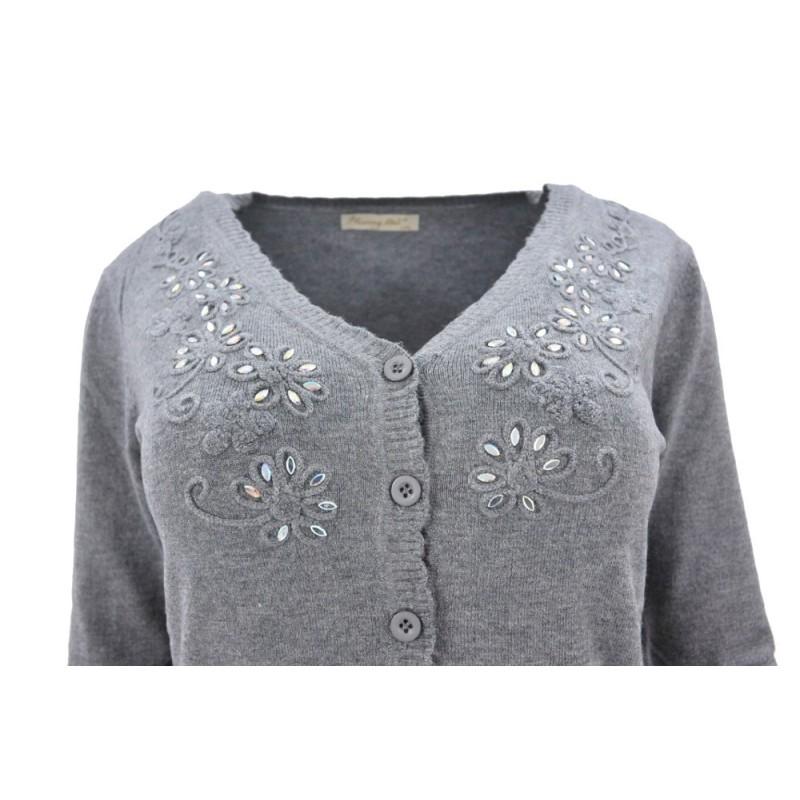 Sweter rozpinany z ozdobnymi kamyczkami (popiel)