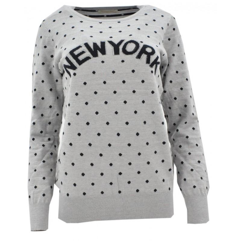 Sweter w kropki NEW YORK (szary)