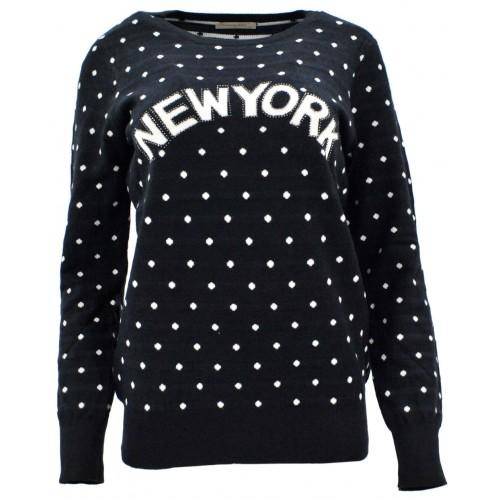Sweter w kropki NEW YORK (czarny)