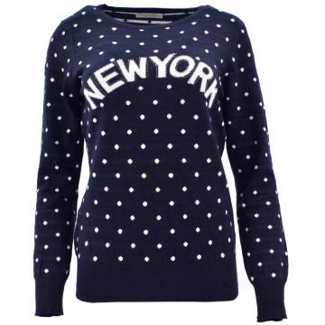 Sweter w kropki NEW YORK (granat)