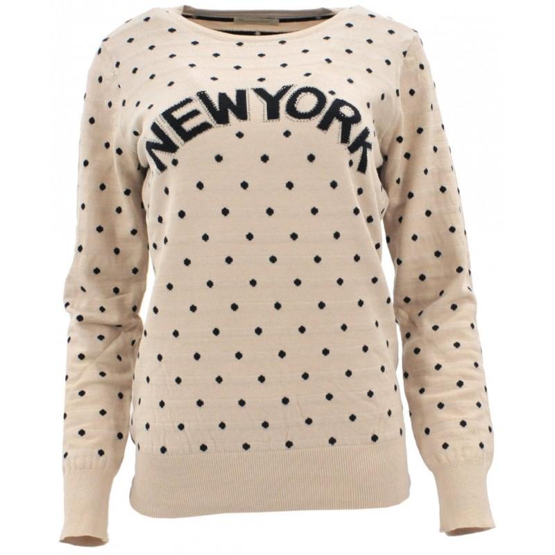 Sweter w kropki NEW YORK (beż)